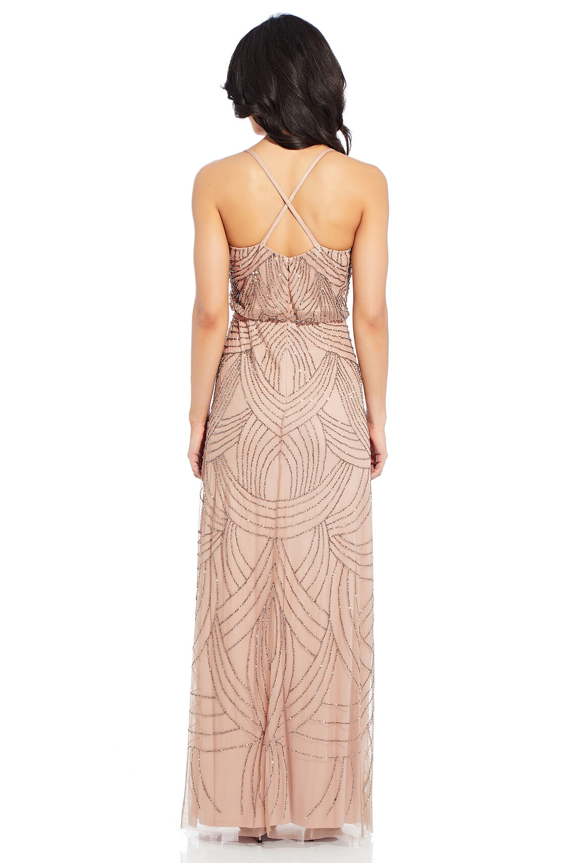 Frances Beaded Blouson Gown By Adrianna Papell - Taupe/Pink