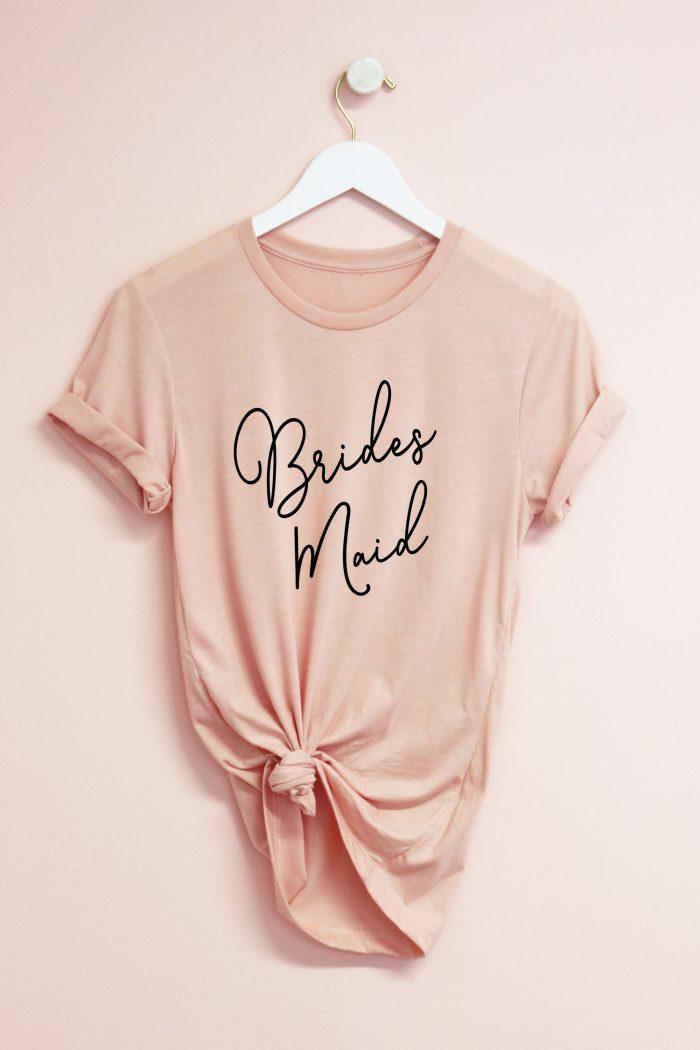 Bridesmaid T-Shirt in Blush Pink