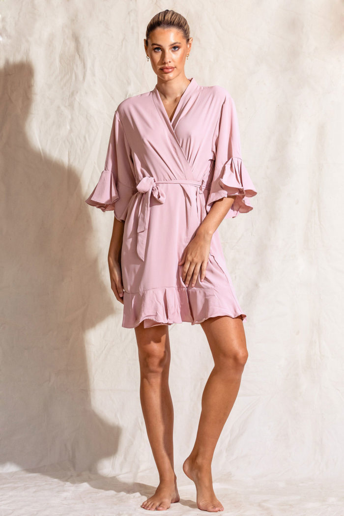 Bridesmaids cotton robes dusty rose