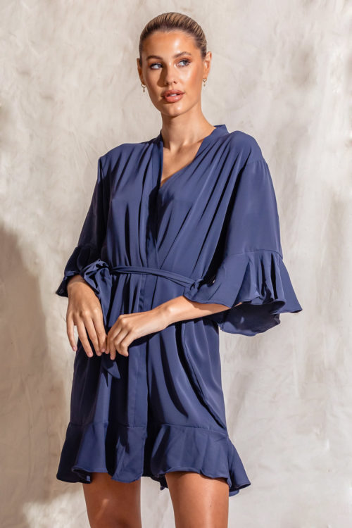 Olivia Matte Cotton Ruffle Navy Blue Robes