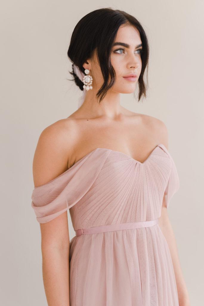 Bardot Bridesmaid Dress by TH&TH - Smoked Blush
