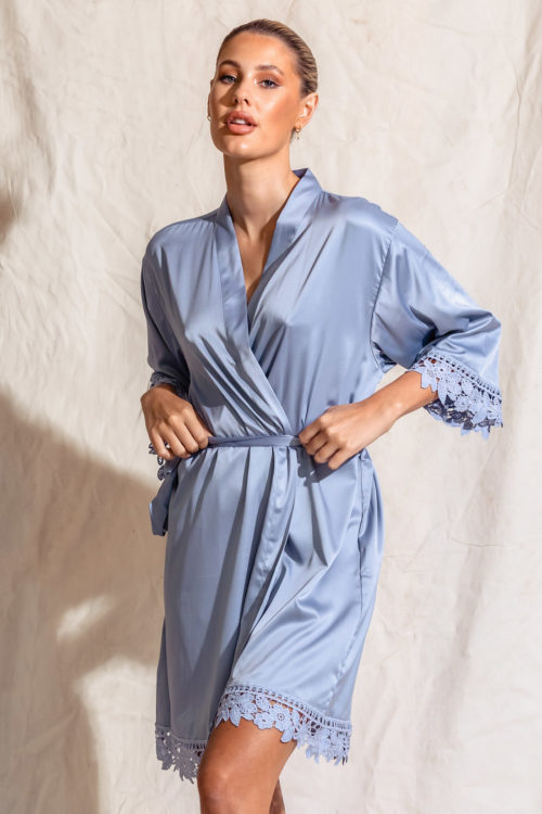 Ella Satin Lace Robe Dusty Blue Bridal Robes