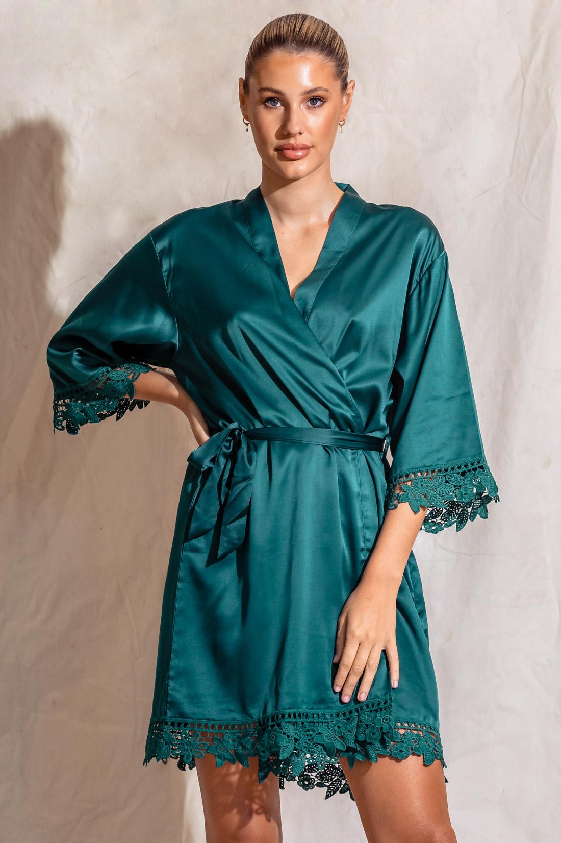 Ella Emerald Green Lace Satin Bridesmaids Robe