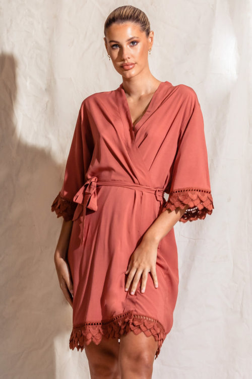 Ava Matte Cotton Feather Lace Rust Burnt Orange Robes