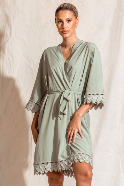Ava Matte Cotton Feather Lace Sage Green Robes