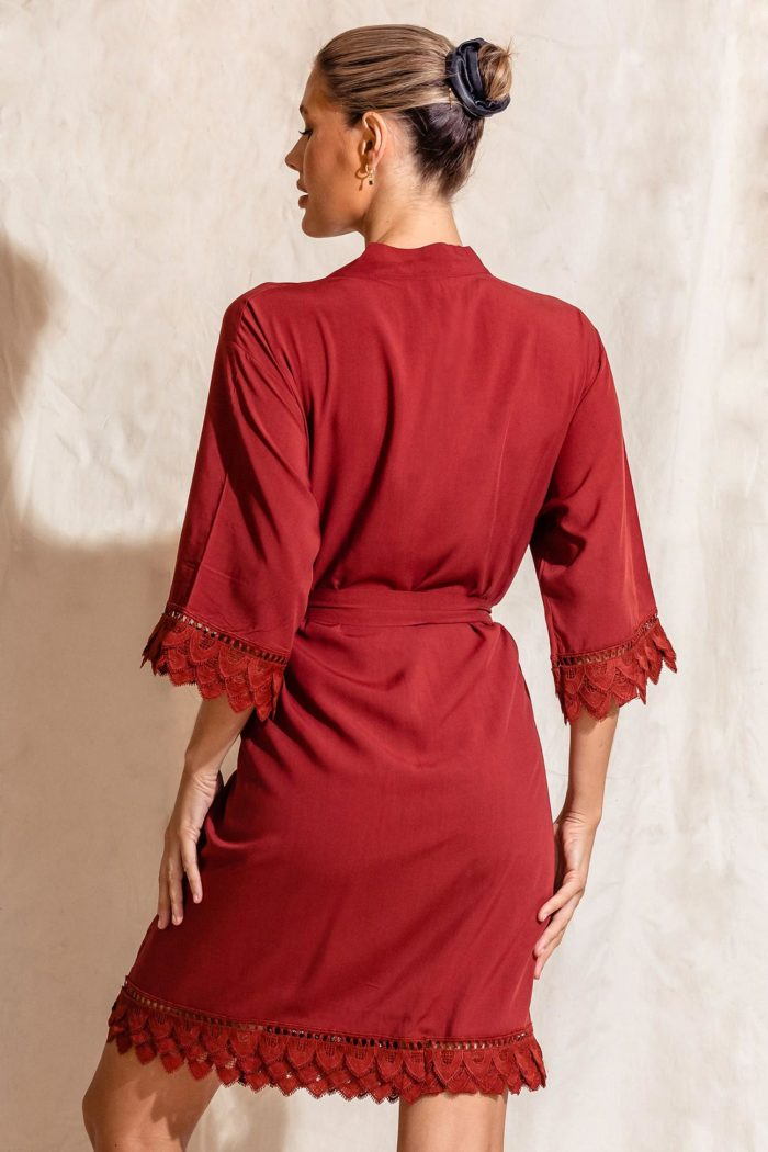 Áva Paprika Red Matte Feather Lace Bridesmaid Robe