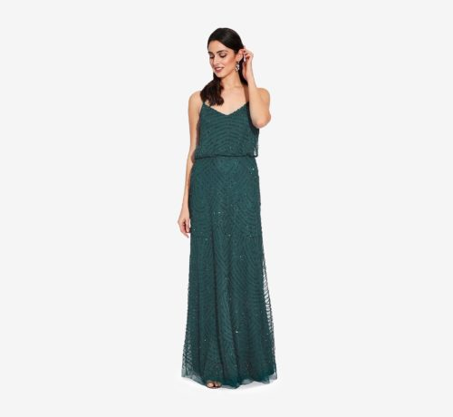 Gatsby Art Deco Blouson Beaded Gown By Adrianna Papell - Dusty Emerald
