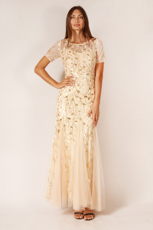 Amelia Gold Champagne Bridesmaid Dress Tulle Sequin